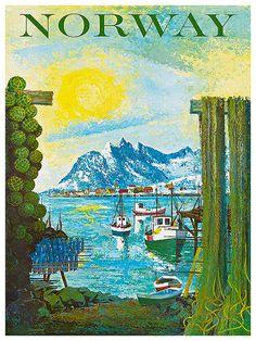 Voyage Art Print affiche publicitaire de Norvège par Blivingstons