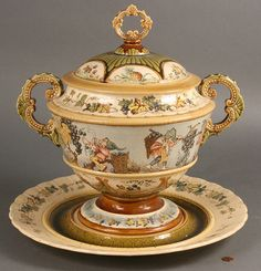 german tureen | 253: Large Ceramic Tureen and platter, Geschutzt - Image 1