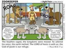 """""""But to the Son he says, """"Your throne, O God, endures forever and ever. You rule with a scepter of justice. Christian Comics, Christian Cartoons, Christian Humor, Christian Life, Christian Quotes, Jesus Cartoon, Religious Humor, Walk In The Light, Bible Illustrations"""