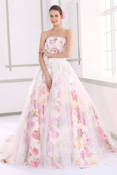 New Style Strapless Natural Tulle Sleeveless Lace Up-Corset Wedding Dress with Flower JUX015001 #colorfulweddingdresses #cocomelody