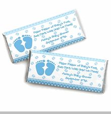 Baby Feet Blue Wrapper - Personalized Candy Bar Wrapper Baby Shower Favors