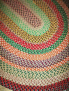 Vintage Handmade Hand Braided Laced Room Size Wool Area Rug 7 x 13 Feet Oval | eBay