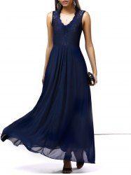 Graceful Lace Chiffon Splicing Maxi Long Prom Dresses For Women - DEEP BLUE