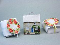 Free Printable Cottage and Rose Garland Gift or Favor Boxes Miniature
