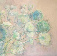 E. Witkowska, Wild flowers, 70x70, oil on canvas. Wild carrot. 2017