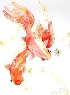 watercolor goldfish | Goldfish, origiinal watercolor painting, 12 X 9 in