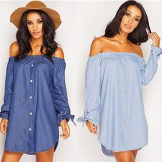 Cheap denim dress, Buy Quality strapless dress directly from China summer women Suppliers: Spring Summer Women Off Shoulder Jean denim Dress Cold shoulder mini Button feme Office sexy Long Sleeve strapless Dress 2017