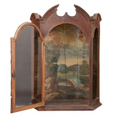 "Obsolete Inc.  Gothic Glass and Wood Vitrine France circa 1770  30"" l x 14"" d x 42"" h  O1263"