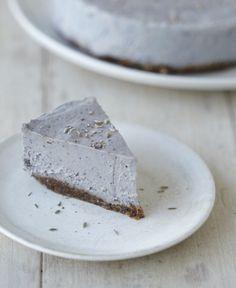 Raw Lavender Cheesecake with Hazelnut Crust
