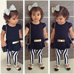 Baby Girl 3pcs Short Sleeve T-shirt+Pants+Belt Set
