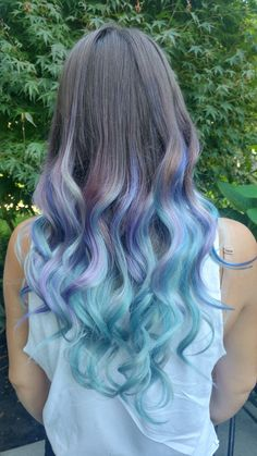 New hair colour. Mermaid hair, unicorn, long, curly, chic, style, pastel. Mint hair. Purple hair. Ombre. Joico. Summer hair. Rainbow. Color.