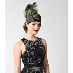 Unique Vintage Peacock & Black Feather Gunmetal Crystal Sequin... ($28) ❤ liked on Polyvore featuring accessories, hair accessories, multicolor, crystal hair accessories, stretchy headbands, crystal headband, feather hair accessories and sparkly headbands