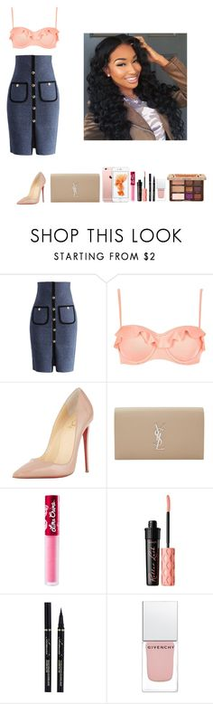 """""""-Glo Queen"""" by krissyk-15 on Polyvore featuring Chicwish, River Island, Christian Louboutin, Yves Saint Laurent, Lime Crime, Benefit, Givenchy and Too Faced Cosmetics"""