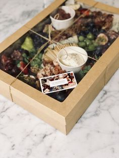 Charcuterie Gift Box, Charcuterie Platter, Charcuterie And Cheese Board, Antipasto, Party Food Platters, Cheese Platters, Brunch, Grazing Platter Ideas, Tea Party Sandwiches