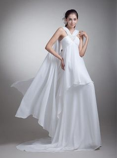 Robe de mariée en chiffon fluide taille empire traîne Watteau col en V