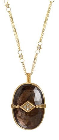Necklace in 18k gold with sapphires and opaque diamonds, $3,750; Amáli