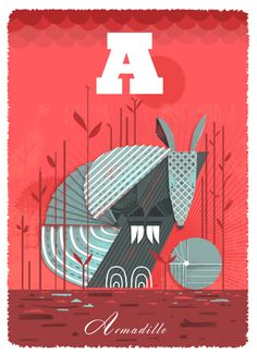 A(rmadillo) by Graham Carter at #BoxbirdGallery | Personalise at no extra cost exclusively at Boxbird | Limited edition #Giclee £80 | www.boxbird.co.uk