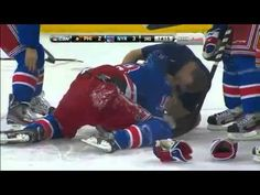 Marc Staal gets hit in the face with the puck.this was so hard to watch, I was cringing on my couch.prayers for a speedy recovery for Marc! Let's Go Rangers! Slap Shot, Nhl Players, Philadelphia Flyers, New York Rangers, Victorious, Letting Go, Hockey, Kicks, Let It Be