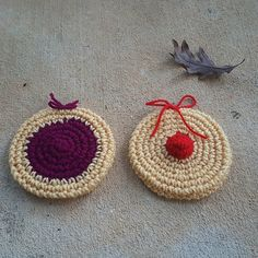 two crochet cookies for a crochet cookie scarf, crochetbug, crochet scarf, crochet circles