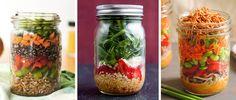 9 Mason Jar Salad Recipes for Healthy Lunch Ideas via @dailyburn
