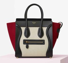 Check out Celine& Spring 2016 bags now! (Which are actually Resort 2016 bags; Luxury Bags, Luxury Handbags, Summer Pinterest, Celine Micro Luggage, Celine Bag, Small Leather Goods, Lookbook, Textiles, Handbag Accessories