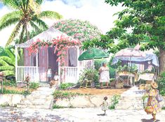 by Anne Miller, x watercolour print Watercolor Print, Caribbean, Watercolours, Gallery, Painting, Architecture, Art, Arquitetura, Art Background