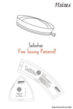 This is the pattern of a Sailorhat. Hat Patterns To Sew, Skirt Patterns Sewing, Doll Clothes Patterns, Sewing Patterns Free, Free Sewing, Sewing Clothes, Clothing Patterns, Sewing Hacks, Sewing Projects