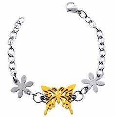 """Polished TwoTone Stainless Steel Bracelet for Women With Gold Plated Butterfly in Center and Two Silver Tone Flowers on Side- 7.5 Length"""" Crazy2Shop. Save 84 Off!. $4.75"""