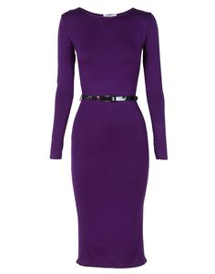 Purple Plain Long Sleeve Midi Dress w Belt £12.95