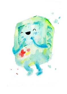 New BMO Style Mini Print 5x7 inch inch inkjet print / Adventure Time Fan Art