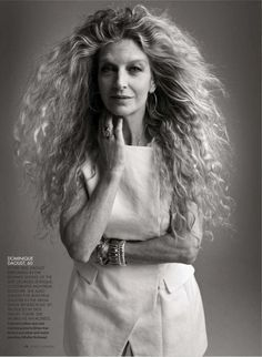 Dominique Daoust, age 60. In the 80s, Daoust performed in the runway shows of the late Georges Levesque. A celebrated Montreal designer, she also walked for Jean Paul Gauthier in the Mega Show Rendezvous '87…Today she works as an actress. (Elle Canada). - Hmmm.... hair extensions?