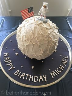 Super Simple Outer Space Moon Landing Cake for Outer Space Birthday Party