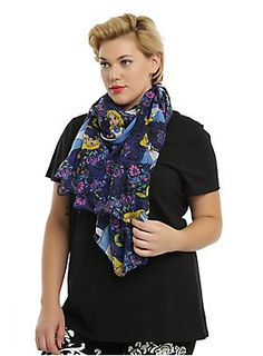 """Adorable oblong viscose scarf from Disney's <i>Alice in Wonderland</i> with an allover <span class=""""st"""">kaleidoscope</span> floral print design. <ul><li style=""""LIST-STYLE-POSITION: outside !important; LIST-STYLE-TYPE: disc !important"""">44"""" x 72""""</li><li style=""""LIST-STYLE-POSITION: outside !important; LIST-STYLE-TYPE: disc !important"""">100% polyester</li><li style=""""LIST-STYLE-POSITION: outside !important; LIST-STYLE-TYPE: disc !important"""">Hand wash; dry flat</li><li style=""""LIST-STYLE-POSITION…"""