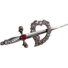 "Antique ""Heart & Dagger"" Diamond  Brooch * * * * *"