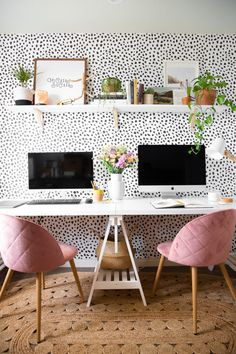 What great home office ideas! Polka dot wallpaper is the best backdrop to this home office design, and the pink velvet desk chairs are also the perfect home office decor! The combination of the two make for a glam home office dream. Home Office Space, Home Office Design, Home Office Decor, Office Designs, At Home Office Ideas, Creative Office Decor, Pink Office Decor, Decorating Office, Apartment Office