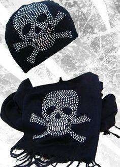 f0a67486817 Skull Beanie   Scarf Set  Fuck That Girly Shit Skull Scarf