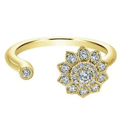 14k Yellow Gold Clustered Diamonds Style  Fashion Ladies' Ring With  Diamond