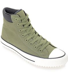 Iconic styling meets precision durability to withstand the colder months, the Converse Chuck Taylor All Star Shield Canvas PC Fatigue Green and Black Boots share many of the same elements from the classic All Star sneakers in a tougher more durable form.