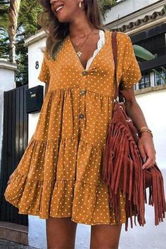 casual outfit Retro Polka Dot Printed V Collar Wrinkle Loose Dress Spring Dresses Casual, Casual Summer Outfits, Casual Dresses For Women, Dress Casual, Summer Dress Outfits, Casual Fall, Simple Dresses, Casual Summer Fashion, Summer Casual Dresses