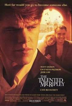 Jude Law, Matt Damon, and Gwyneth Paltrow in The Talented Mr. Jude Law, Matt Damon, Gwyneth Paltrow, Good Movies To Watch, Great Movies, Cate Blanchett, Tom Ripley, Best Psychological Thriller Movies, Movies Set In Italy