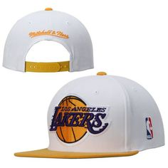 81ff68a2437908 Mens Los Angeles Lakers Mitchell & Ness White Current XL Logo 2 Tone Adjustable  Hat, Your Price: $25.99