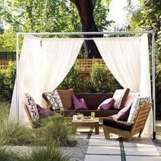 DIY Cabana. If you have the space, make a cozy cabana to put in your back yard. First build the frame using PVC pipes. Then dig the foundation holes. Add the legs and, at the end, add the curtains. You can customize this project however you want.