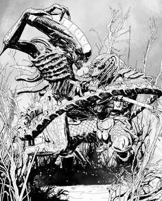 Alien Concept Art, Alien Vs Predator, Alien Art, Batman Vs Superman, Anime Girl Cute, Werewolf, Sketches, Artwork, Aliens