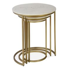 White Marble and Brass Madison Nest of Tables | Luxury Side Tables