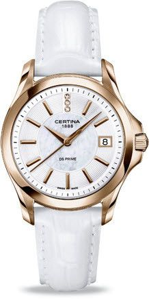 Certina Watch DS Prime Lady Round Quartz #bezel-fixed #bracelet-strap-leather #brand-certina #case-material-rose-gold-pvd #case-width-32mm #classic #date-yes #delivery-timescale-7-10-days #dial-colour-white #gender-ladies #movement-quartz-battery #official-stockist-for-certina-watches #packaging-certina-watch-packaging #style-dress #subcat-ds-prime-lady #supplier-model-no-c004-210-36-116-00 #warranty-certina-official-2-year-guarantee #water-resistant-100m