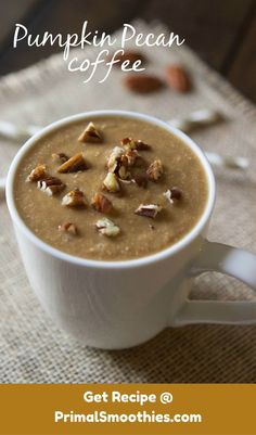 This smoothie is slightly sweet and creamy. Coffee is the most dominate flavor with a precise compliment of pumpkin. You can add pecan pieces for crunch!