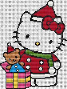 Hello Kitty At Christmas Cross Stitch Kit - Complete Charted Kit- Kitty And Gift Cross Stitch Baby, Cross Stitch Kits, Cross Stitch Charts, Cross Stitch Designs, Cross Stitch Pattern Maker, Cross Stitch Patterns, Cross Stitching, Cross Stitch Embroidery, Hello Kitty Crochet