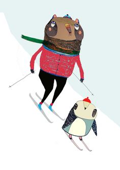 Quirky illustration 'Bear and Penguin Skiing' by Illustrator Ashley Percival.
