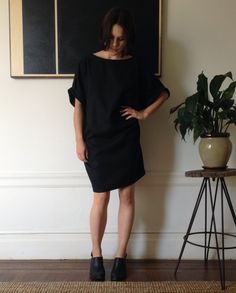 Kimono sleeve dress with low scoop back made in 100% Silk.    One Size Fits All    Dry Clean    Made In San Francisco.  waywaysf
