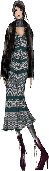 Charlotte Ronson, bohemian with a nod to tribal, deep earthy color